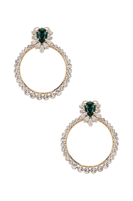 Anton Heunis Post Crystal Cluster Hoop in Green & Gold