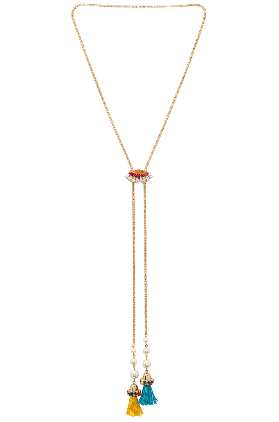 Crystal Cluster & Tassel Bolo Necklace by Anton Heunis