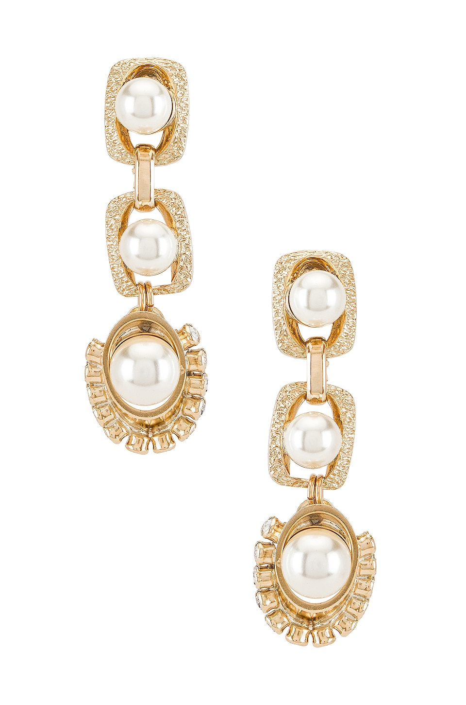 Anton Heunis Pearl Drop Earrings in Cream