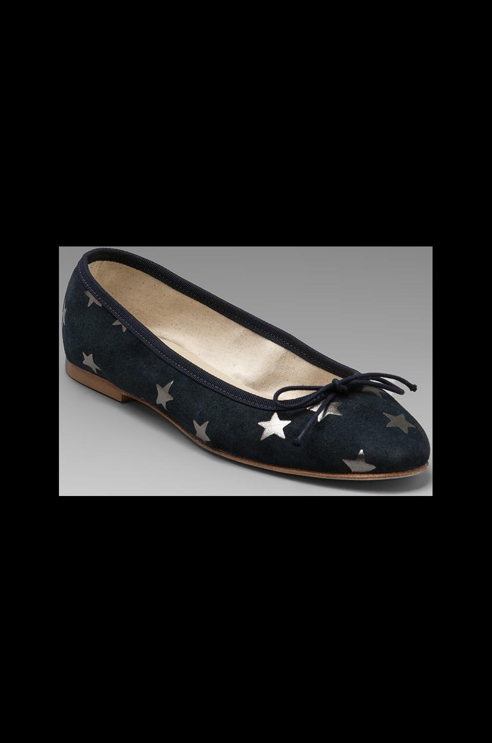 Anniel Ballet Flat in Dark Blue Grey Stars
