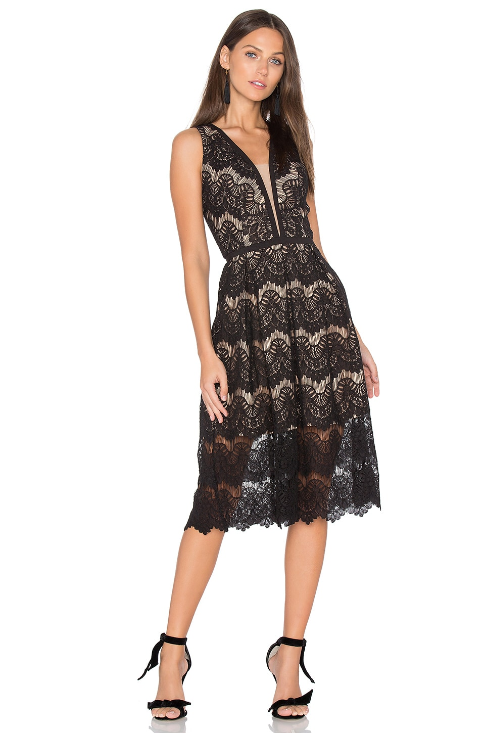 aijek Loyola Lace Midi Dress in Black