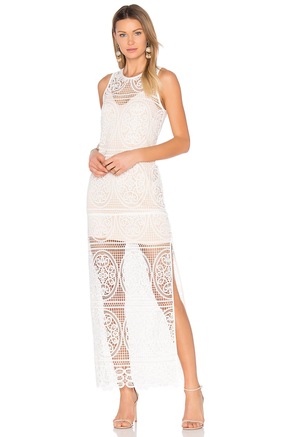 Blackjack Embroidered Column Maxi Dress by aijek