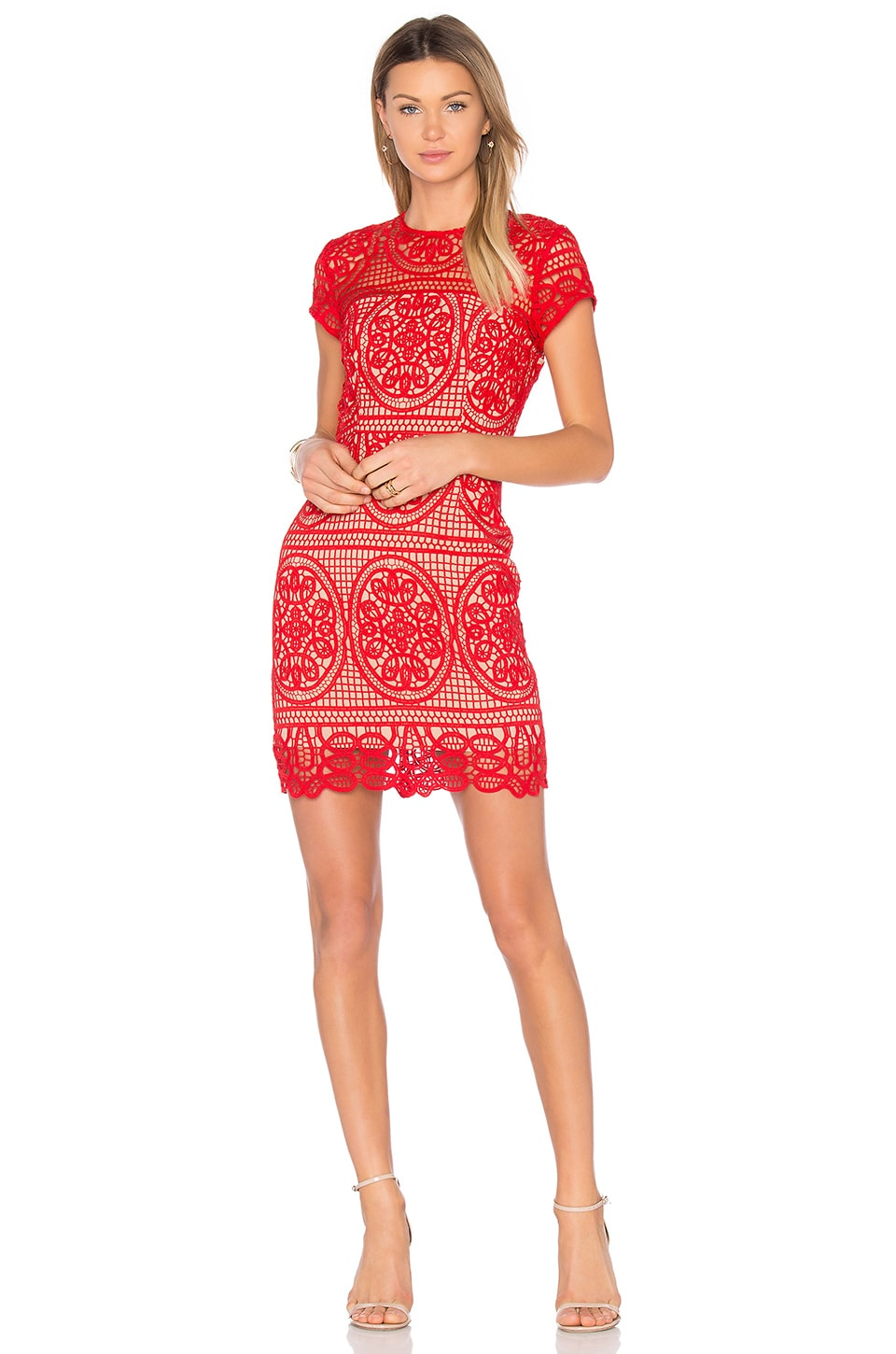 aijek Blackjack Embroidered Mini Dress in Scarlet Red