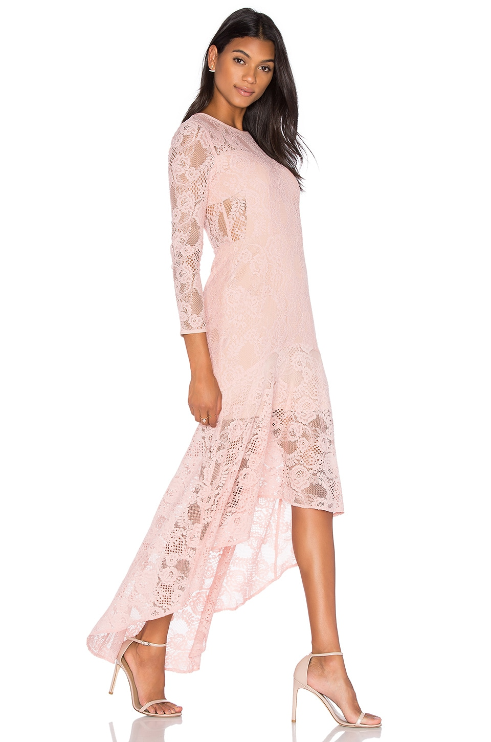 Galella Lace Asymmetric Maxi Dress by aijek