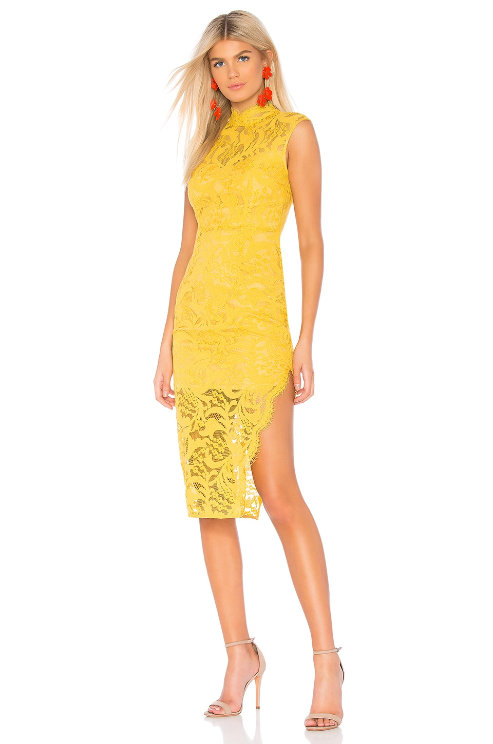 aijek Melanie Cap Sleeve Dress in Yellow