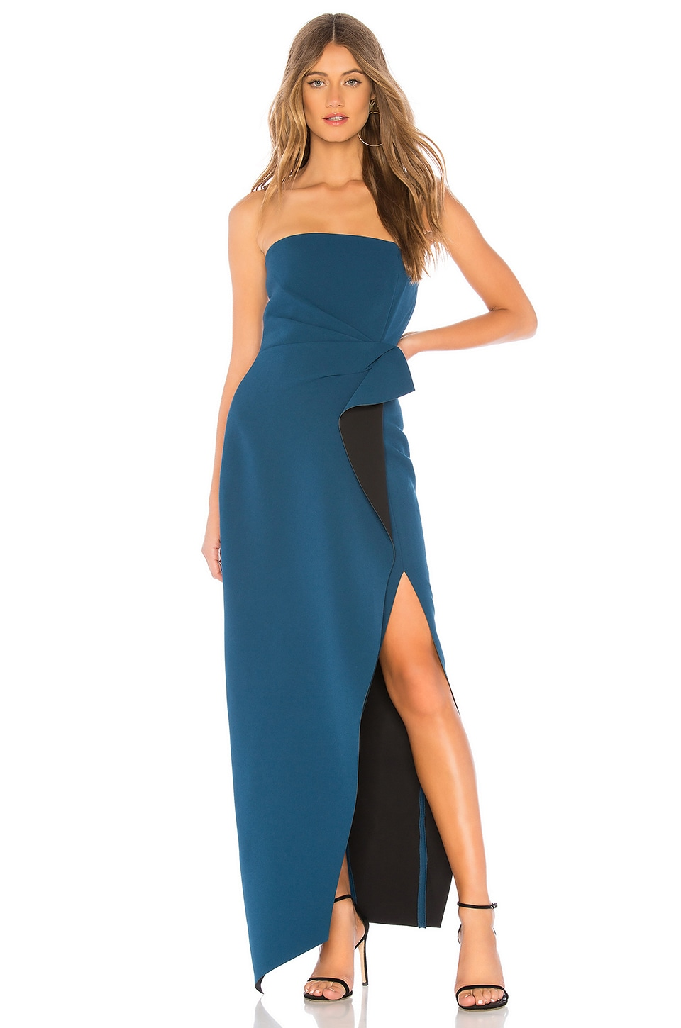 aijek Camille Bustier Gown in Teal & Black