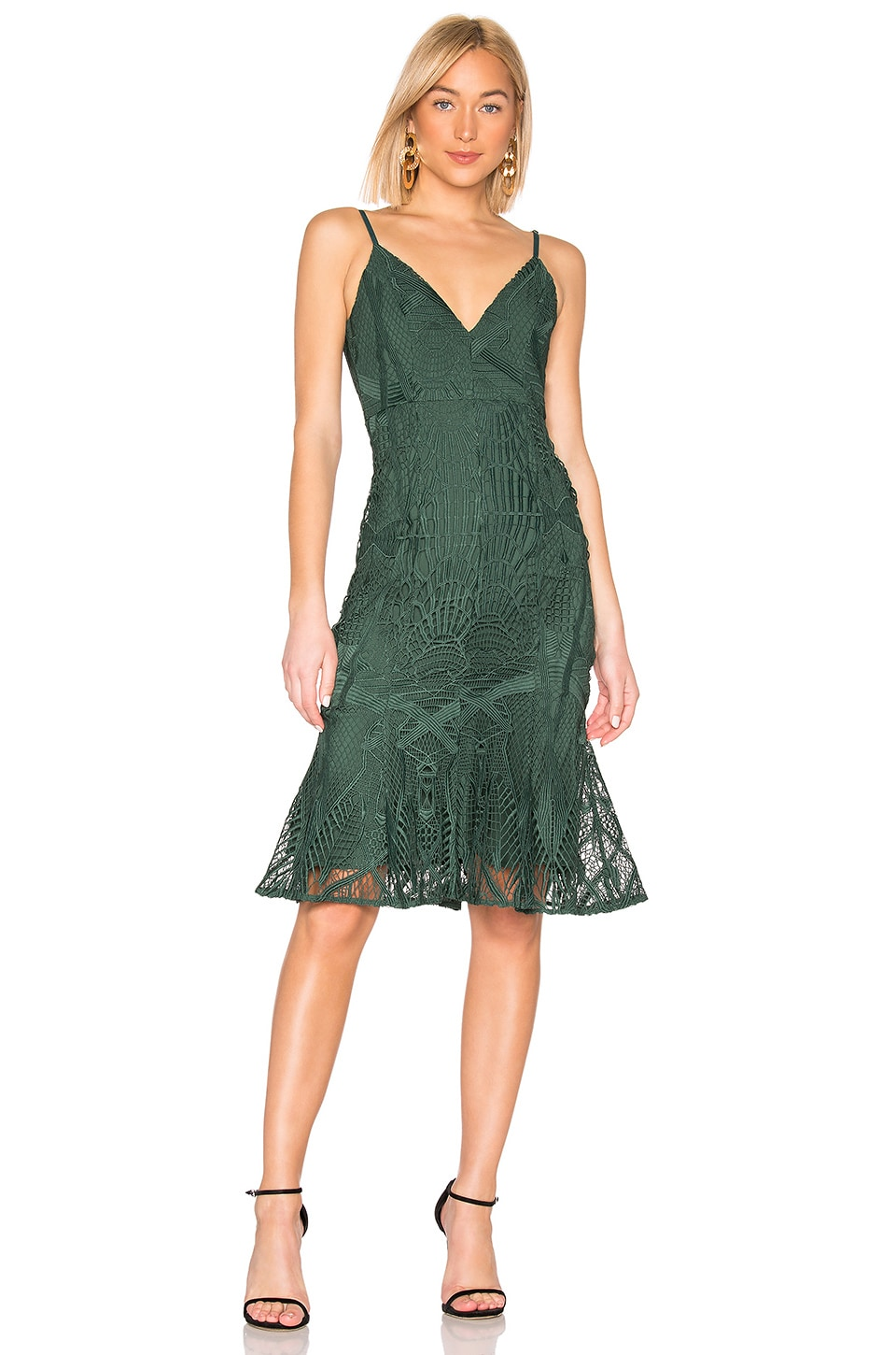aijek Love Is Embroidered Fit Flare Dress in Green