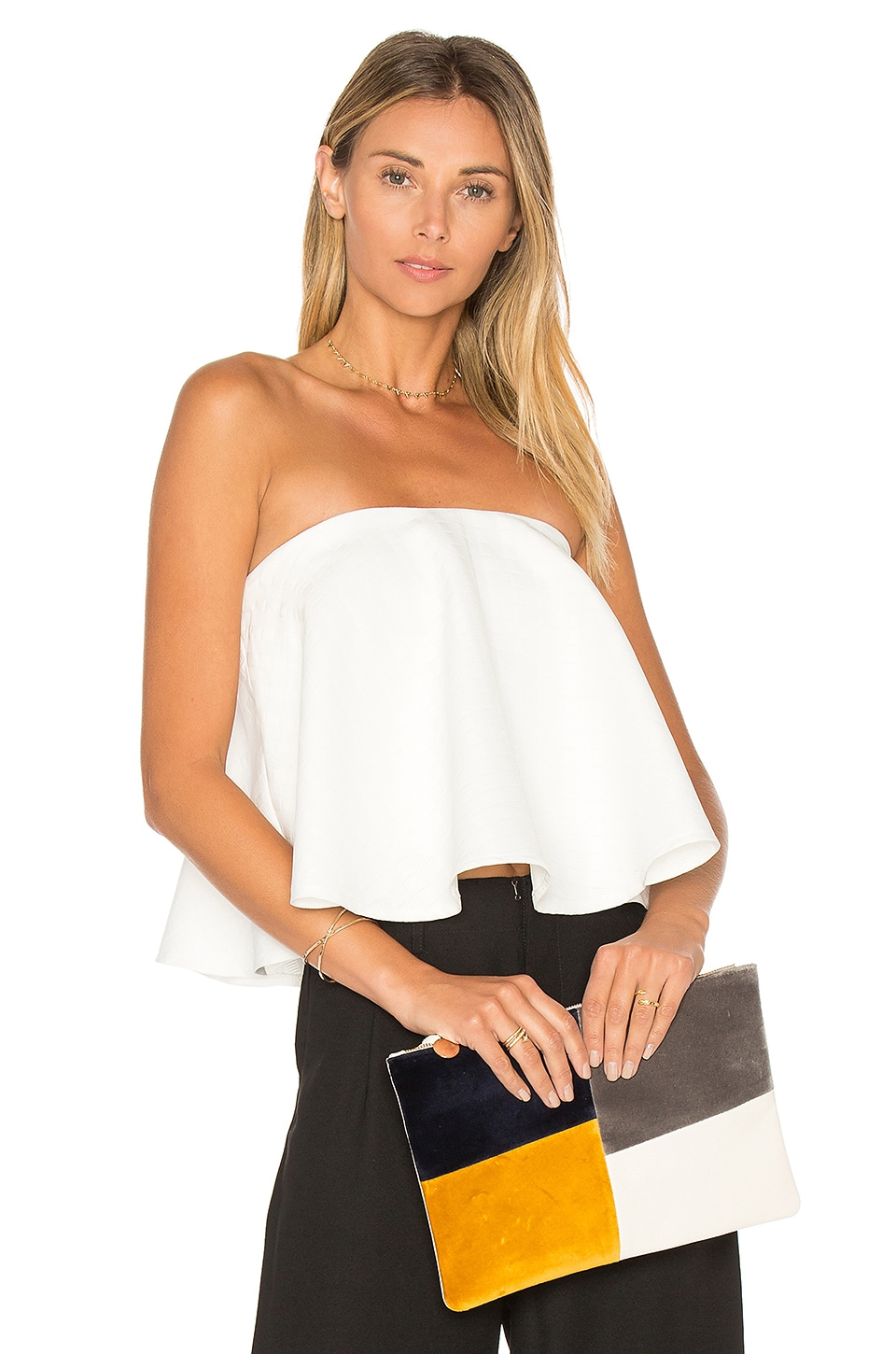 aijek Bouvier Jacquard Bustier Top in White