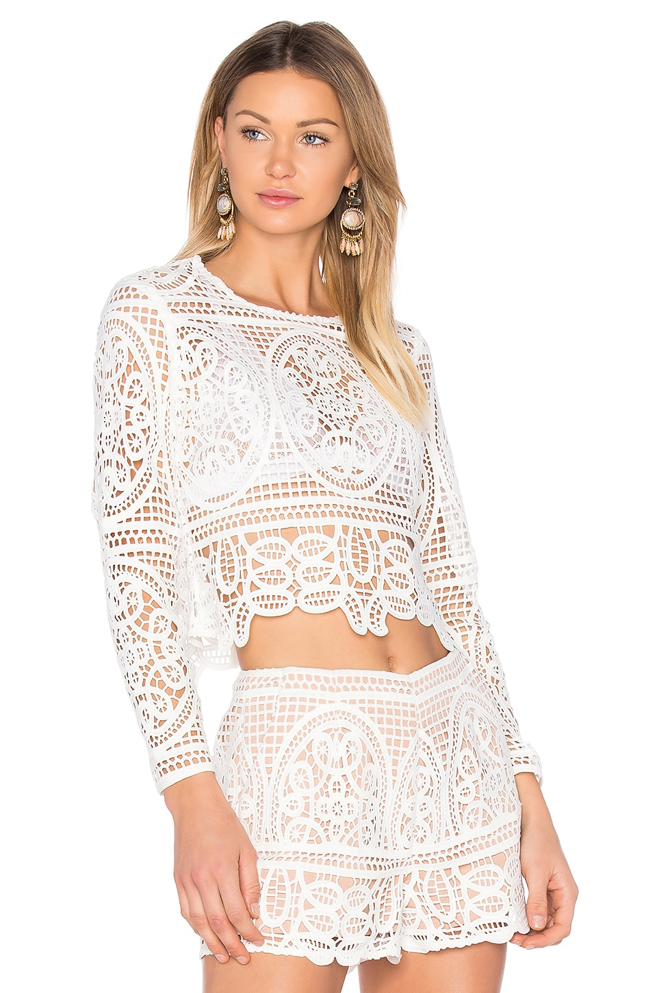 aijek Blackjack Embroidered Cropped Blouse in White