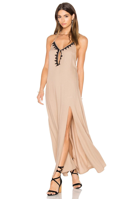 Aila Blue Jelita Halter Maxi Dress in Mocha