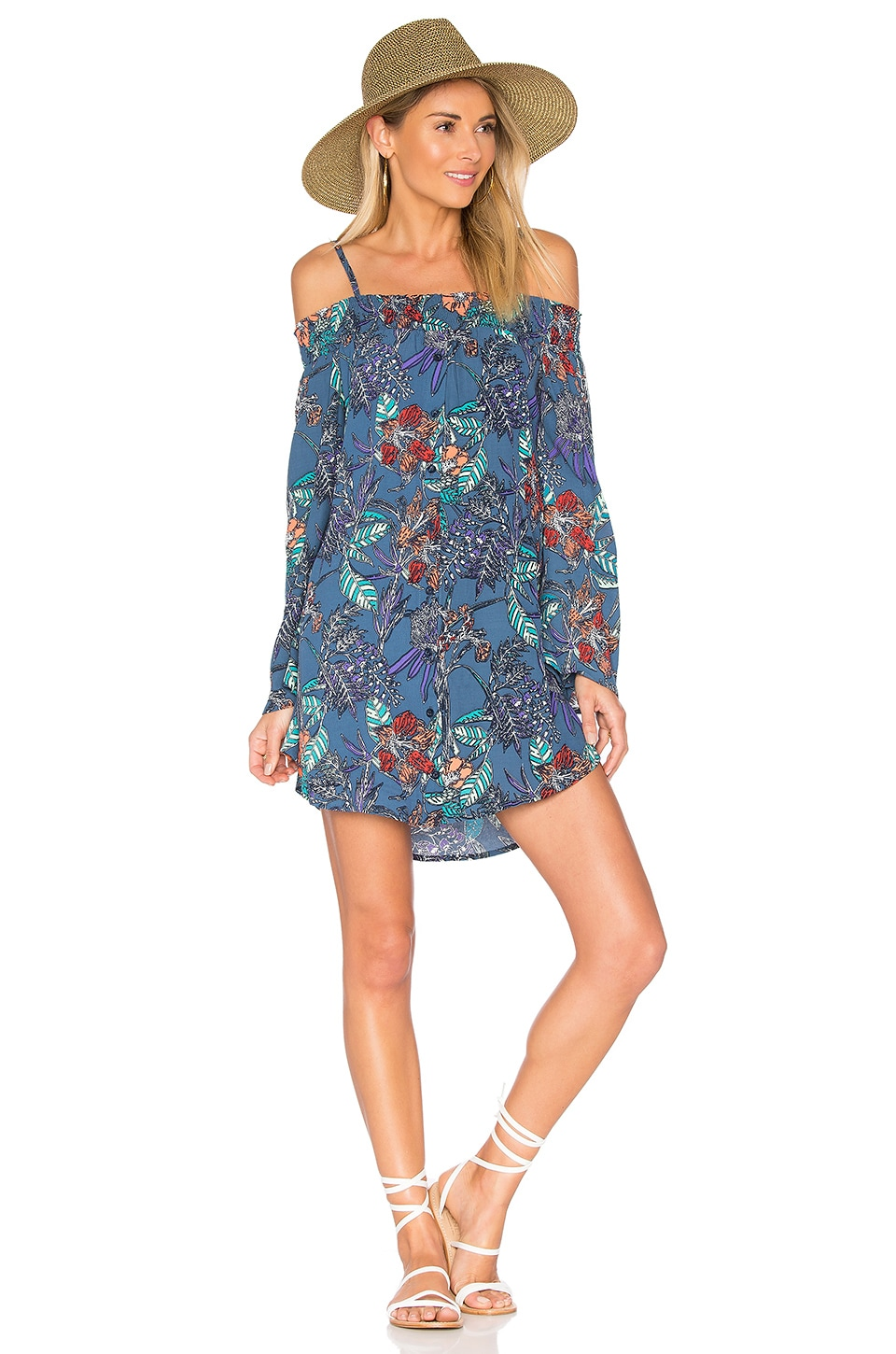 Aila Blue Gypsy Mini Dress in Faded Floral