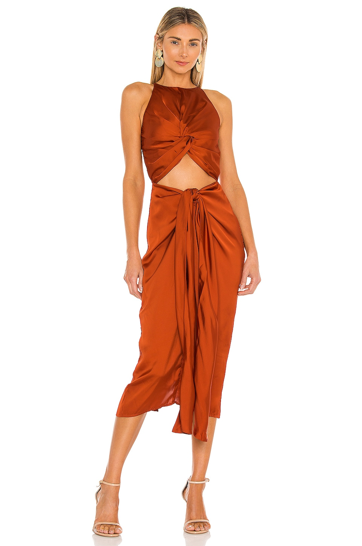Andrea Iyamah Reni Knotted Dress in Orange