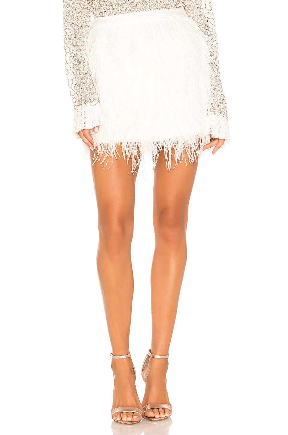 Aje Wattle Feather Mini Skirt in Ivory