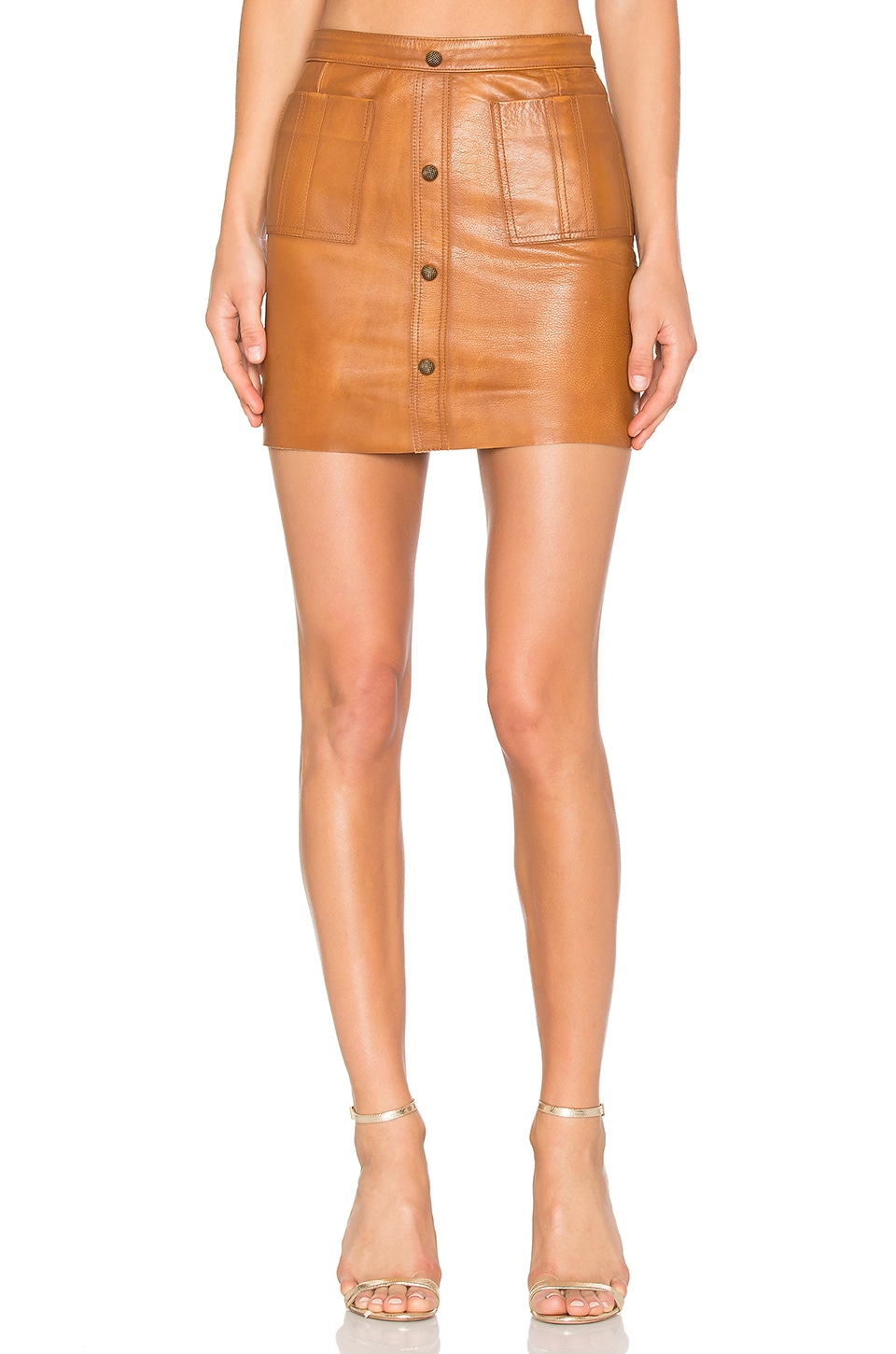 Aje Shrimpton Leather Mini Skirt in Tan