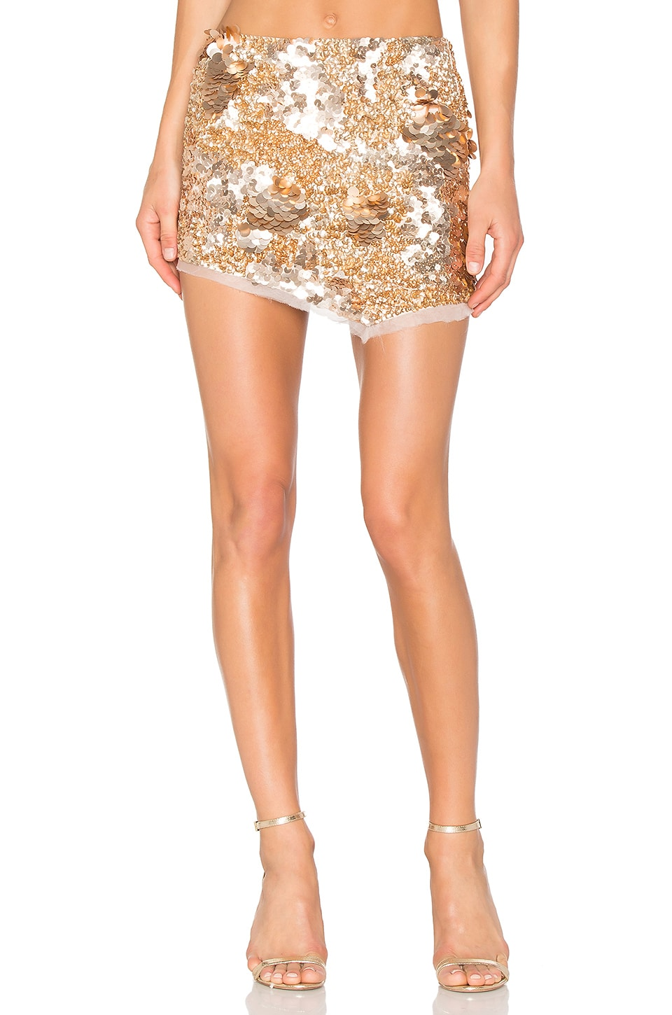 Aje Jaws Sequin Mini Skirt in Rose Gold