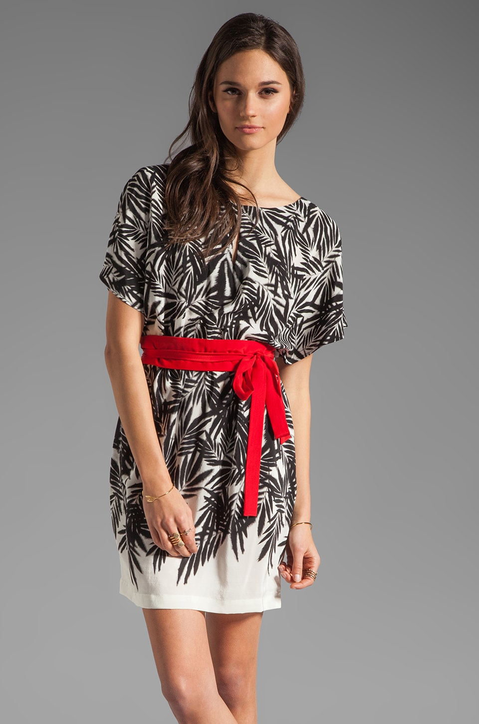Akiko Printed Mini Dress in Leaf Shadow