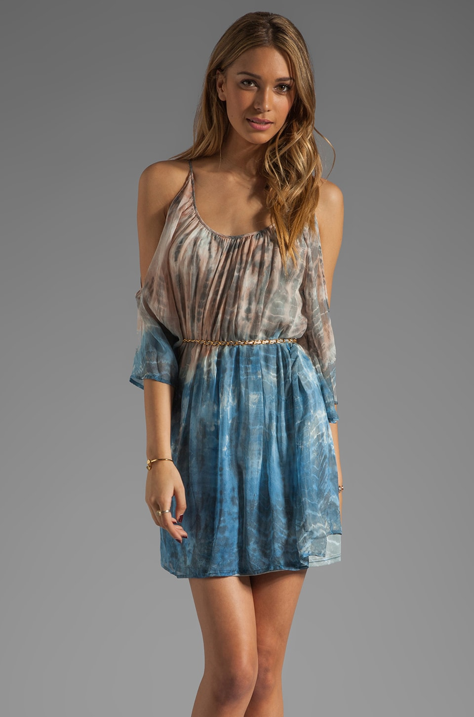 Akiko Open Shoulder Dress in Tie Dye