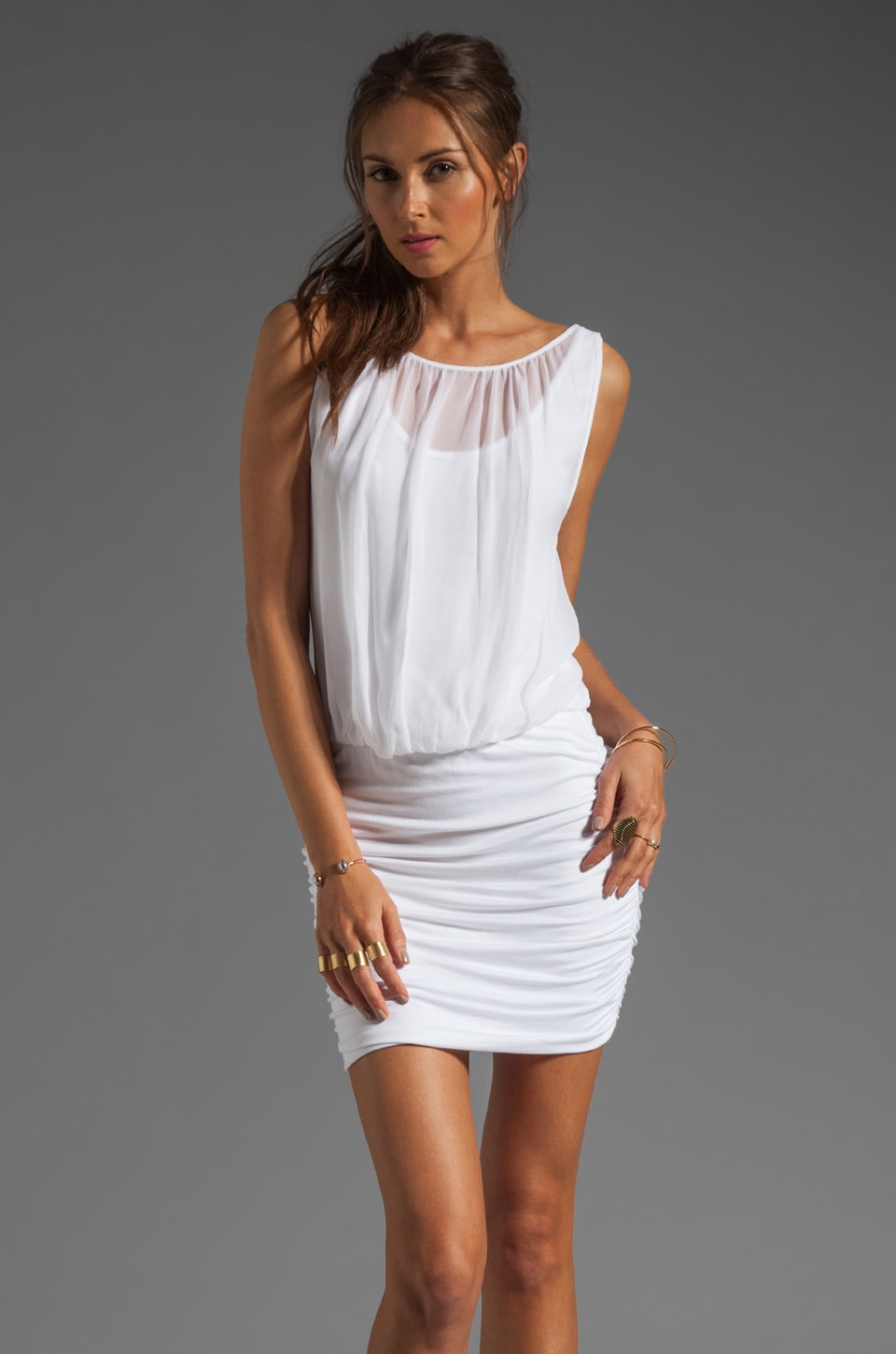 Akiko Mini Sleeveless Dress in Lily White