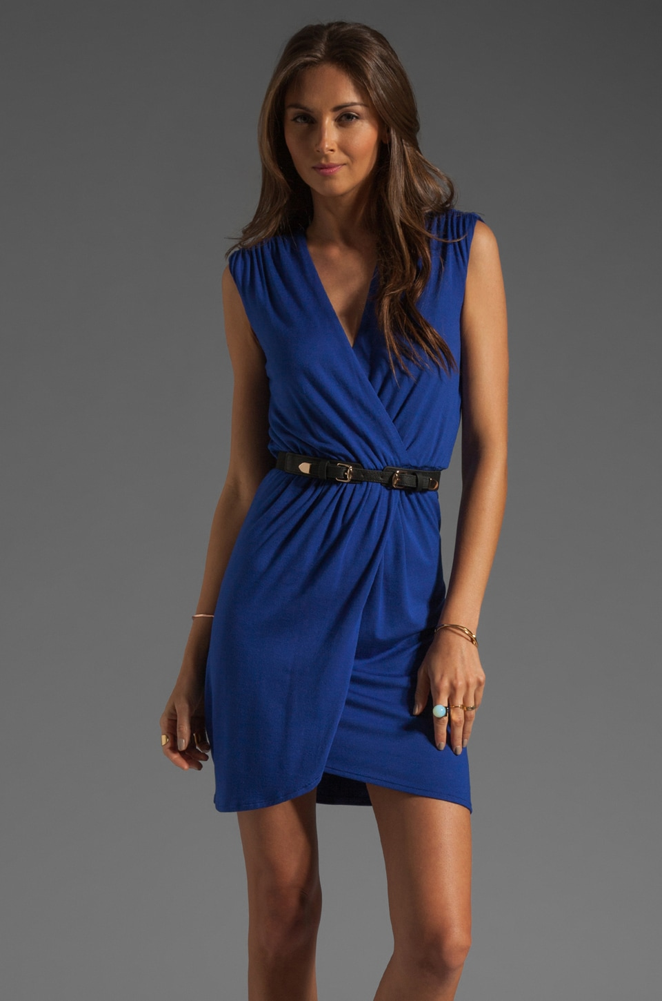 Akiko Sleeveless Wrap Dress in Cobalt
