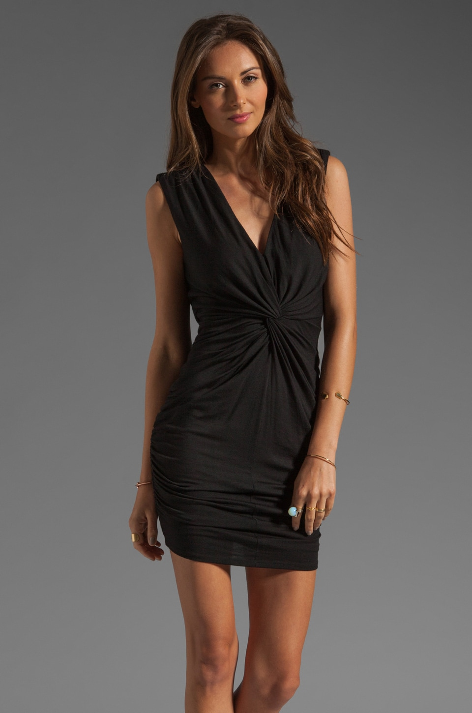 Akiko Twisted Front Dress in Black
