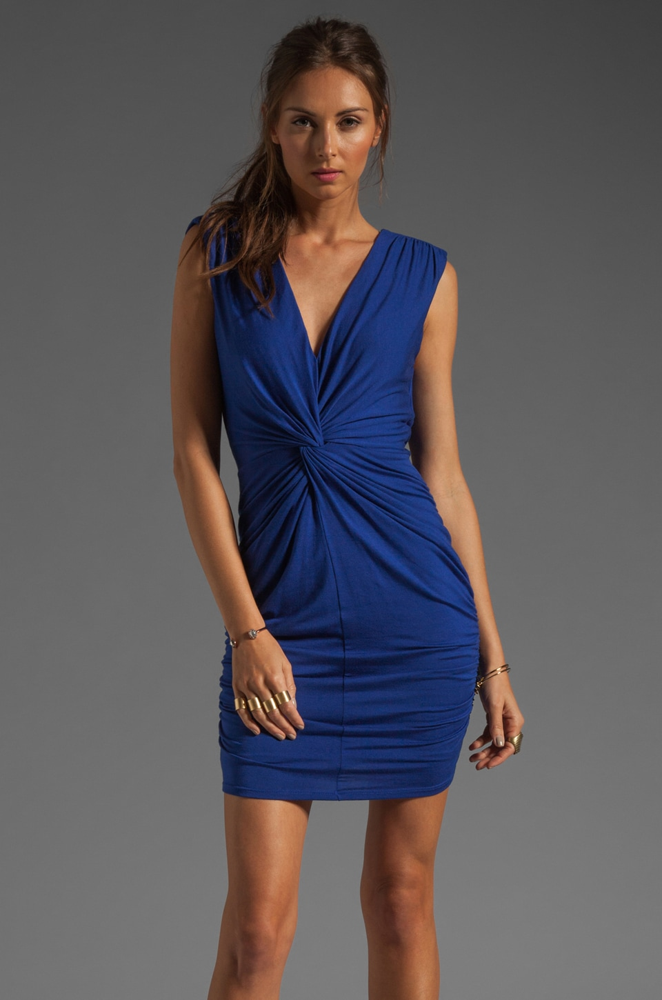 Akiko Twisted Front Dress in Cobalt
