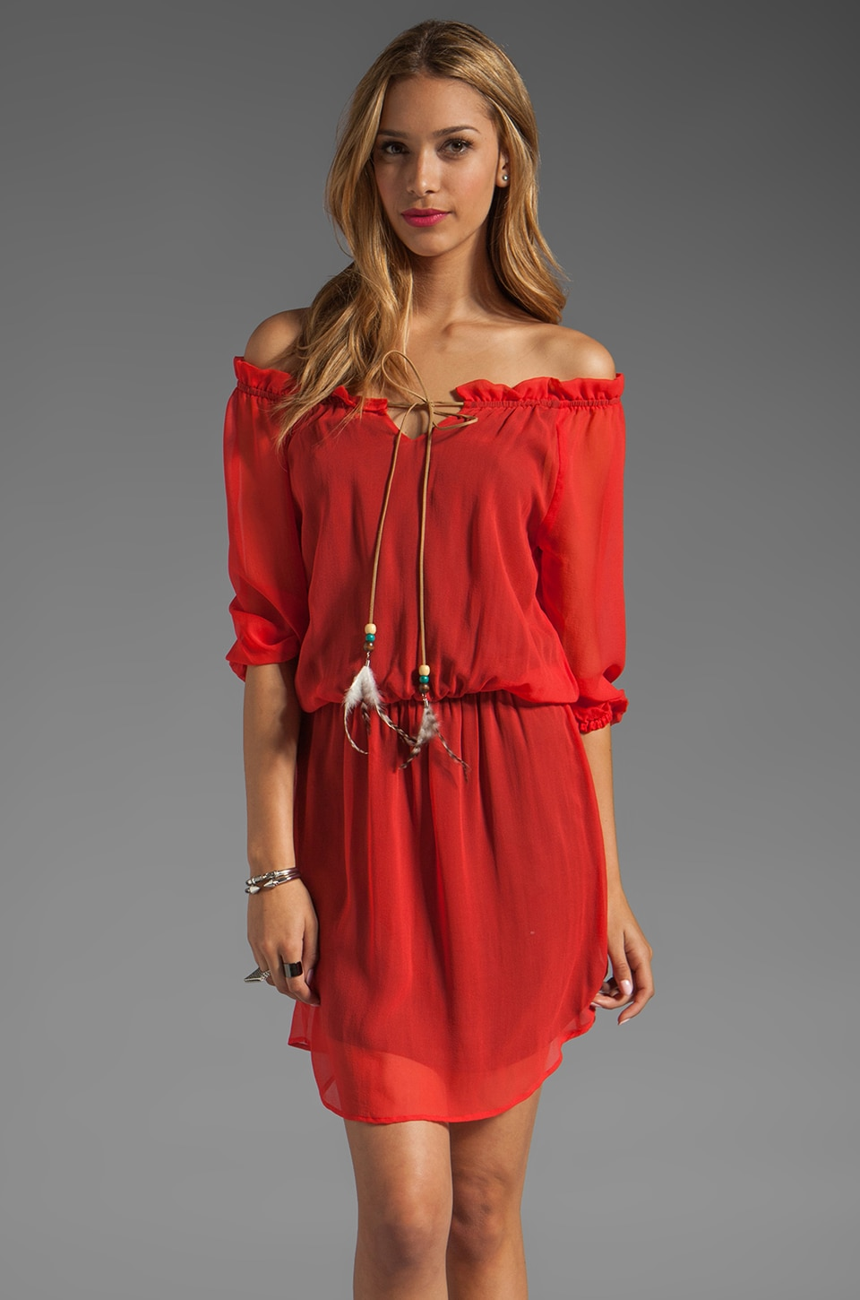 Akiko Off the Shoulder Dress in Orange Crush