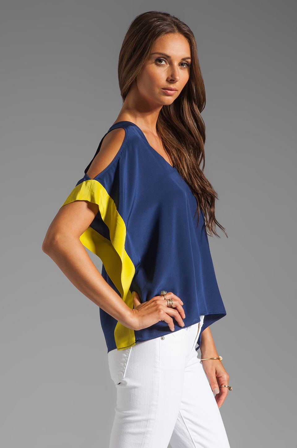 Akiko Cold Shoulder Top in Niagara/Chartreuse