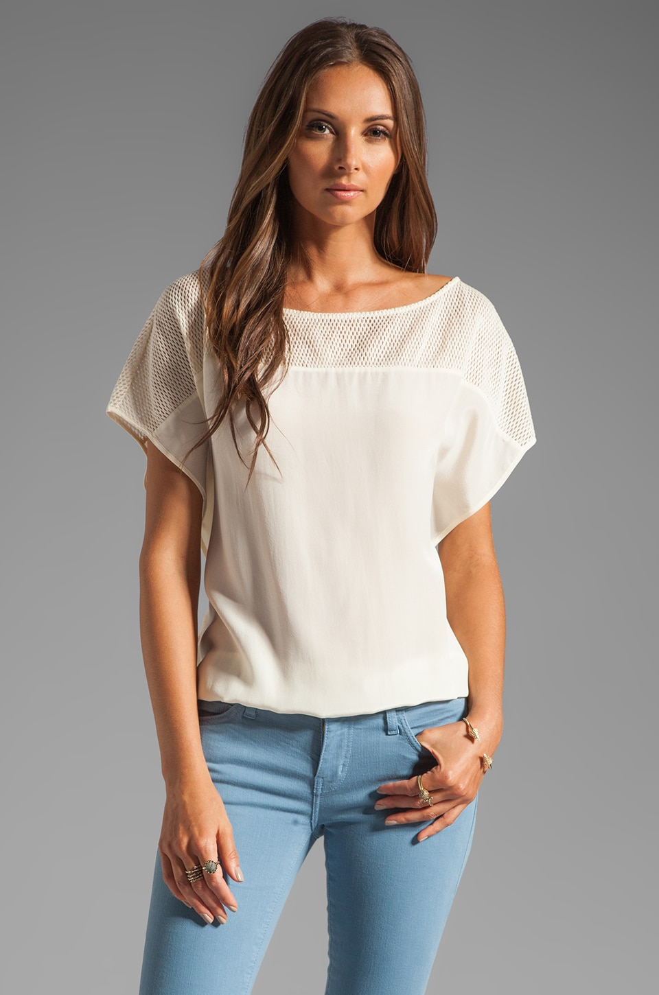 Akiko Top Mesh Short Sleeve Blouse in Sand