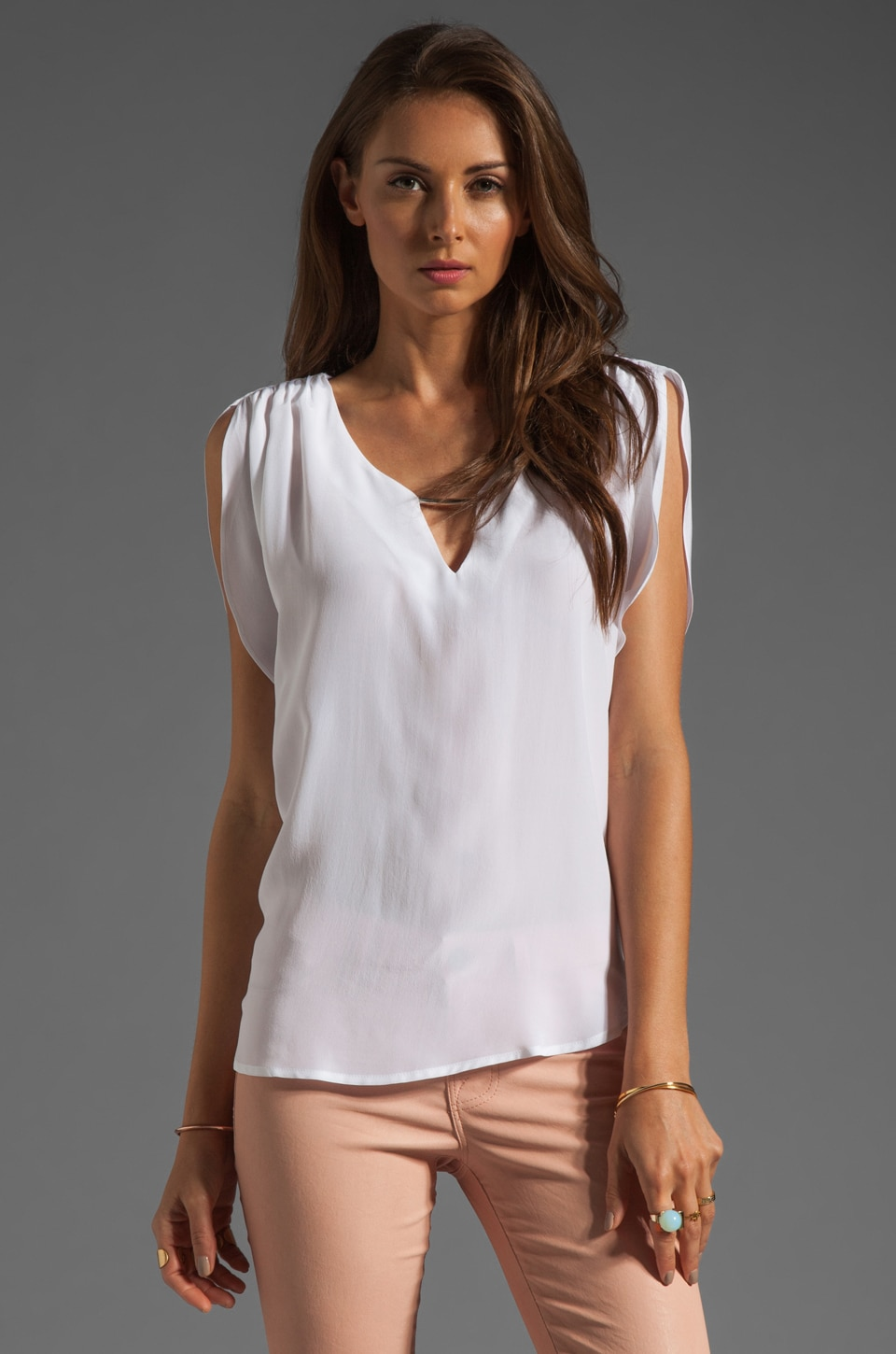 Akiko Sleeveless Split Front Top in Lily White