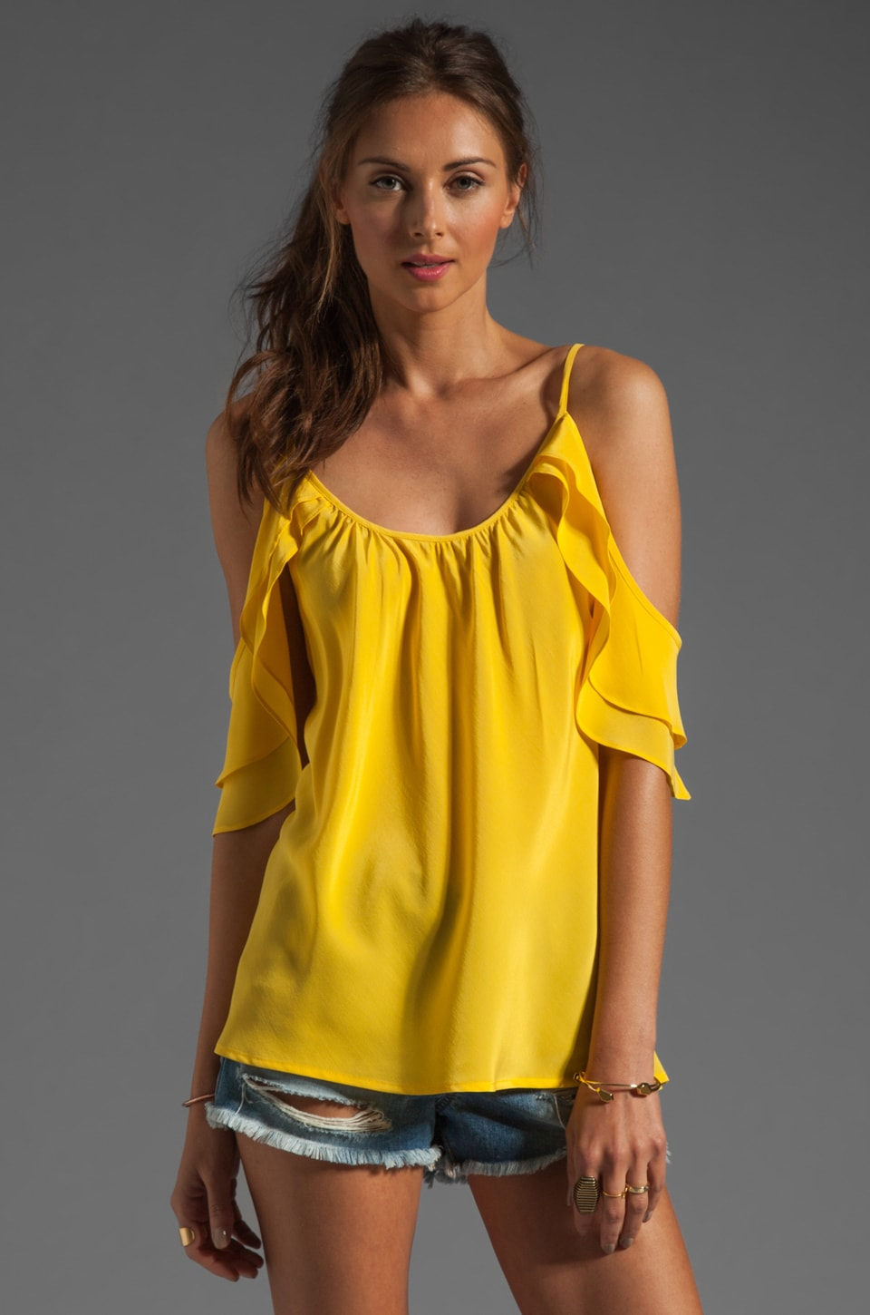 Akiko Open Draped Shoulder Top in Sunshine