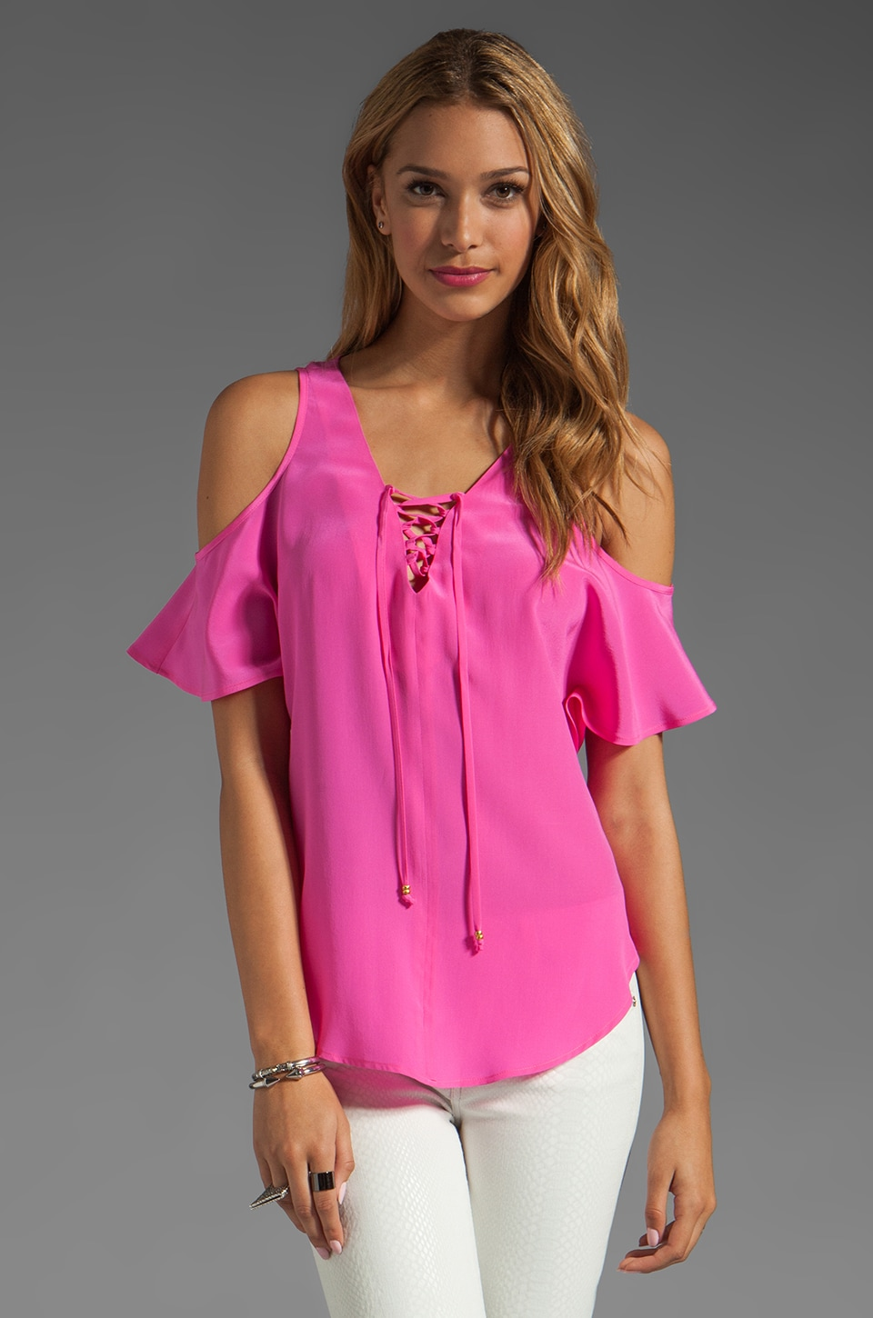 Akiko Cold Shoulder Top in Azalea