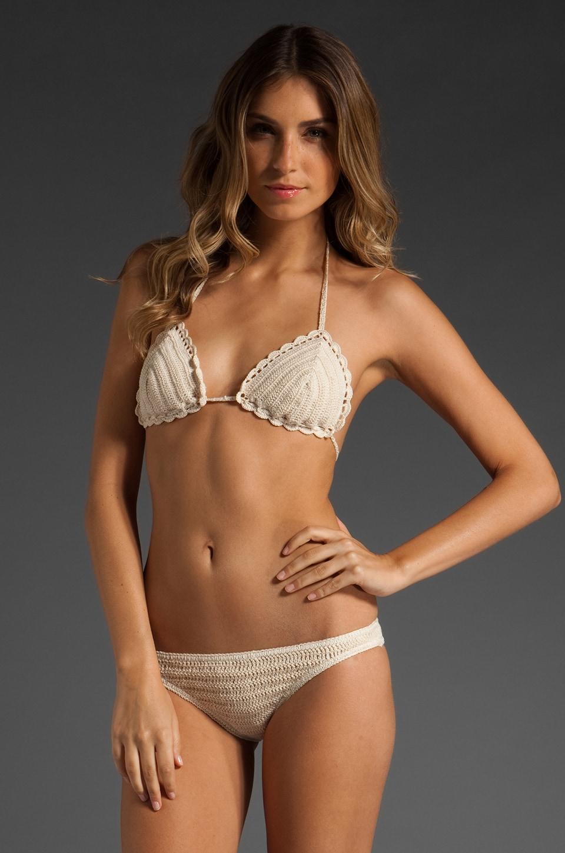 Anna Kosturova Sliding Triangle Hipster Bottom Bikini in Cream