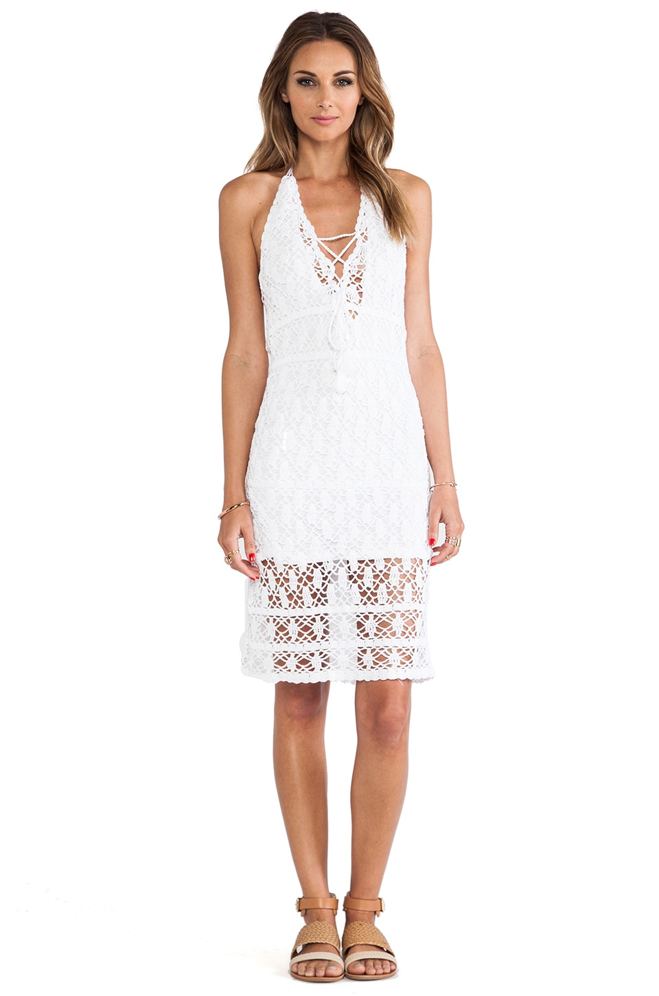 Anna Kosturova Aerin Halter Mini Dress in White