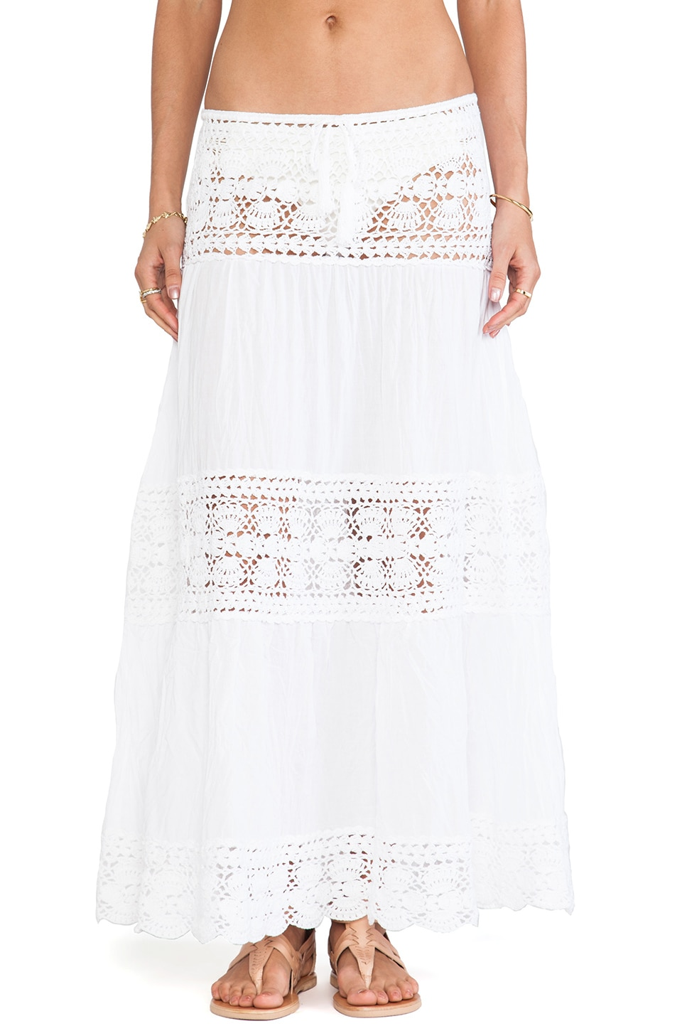 Anna Kosturova Filigree Maxi Skirt in White