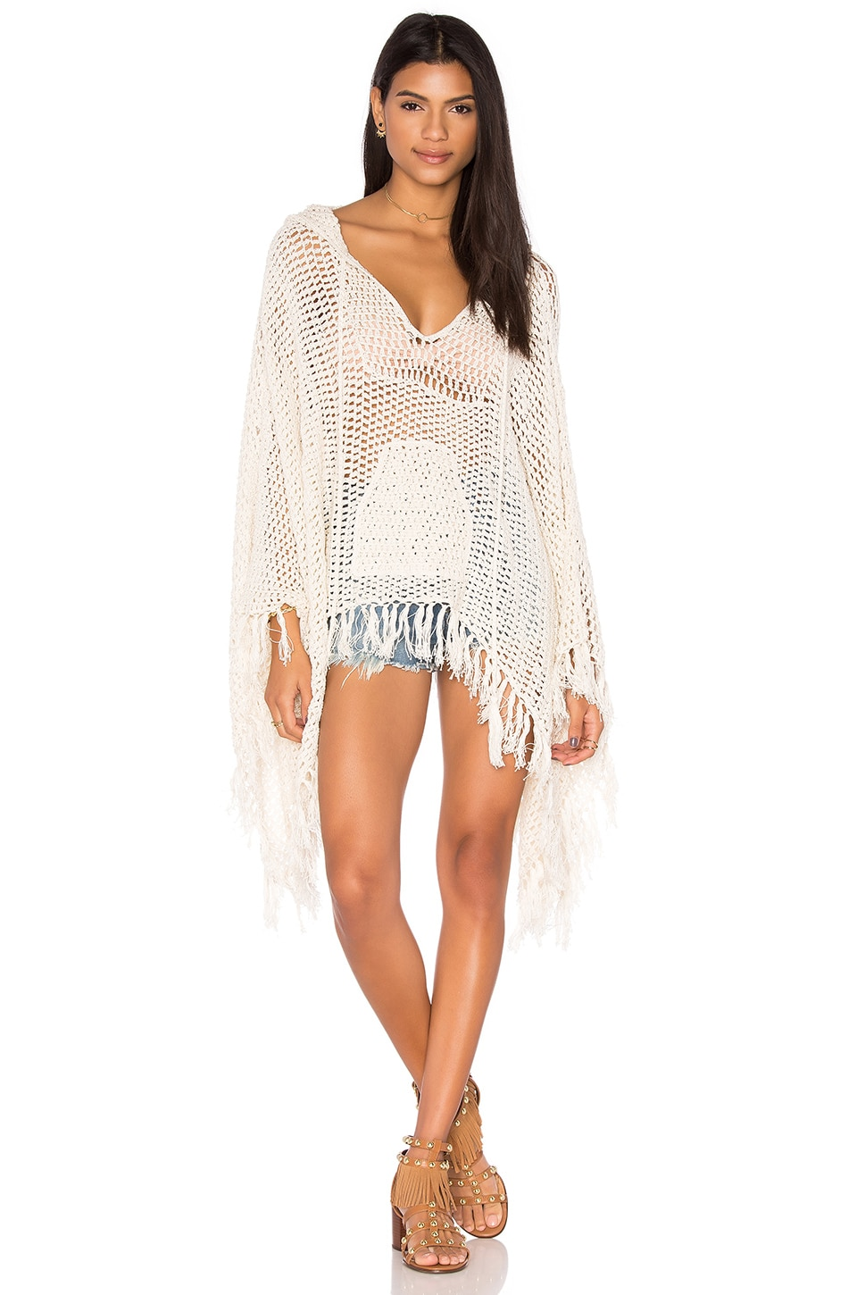 Anna Kosturova Baja Hooded Poncho in Cream