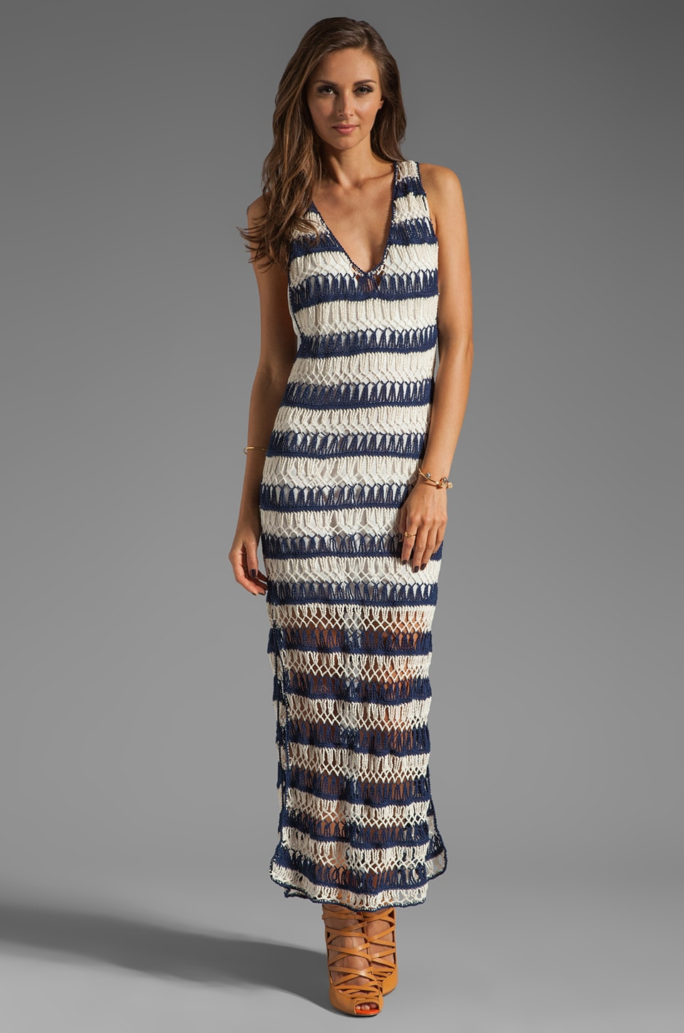 Anna Kosturova Bardot Maxi Dress in Blue/Cream