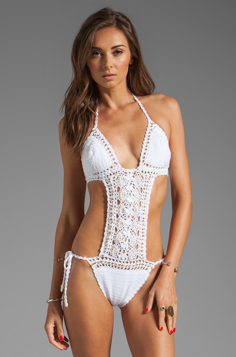Anna Kosturova Filigree Maillot in White