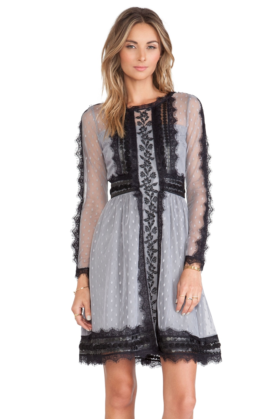 Alice by Temperley Long Sleeved Misty Dress in Grey Mix