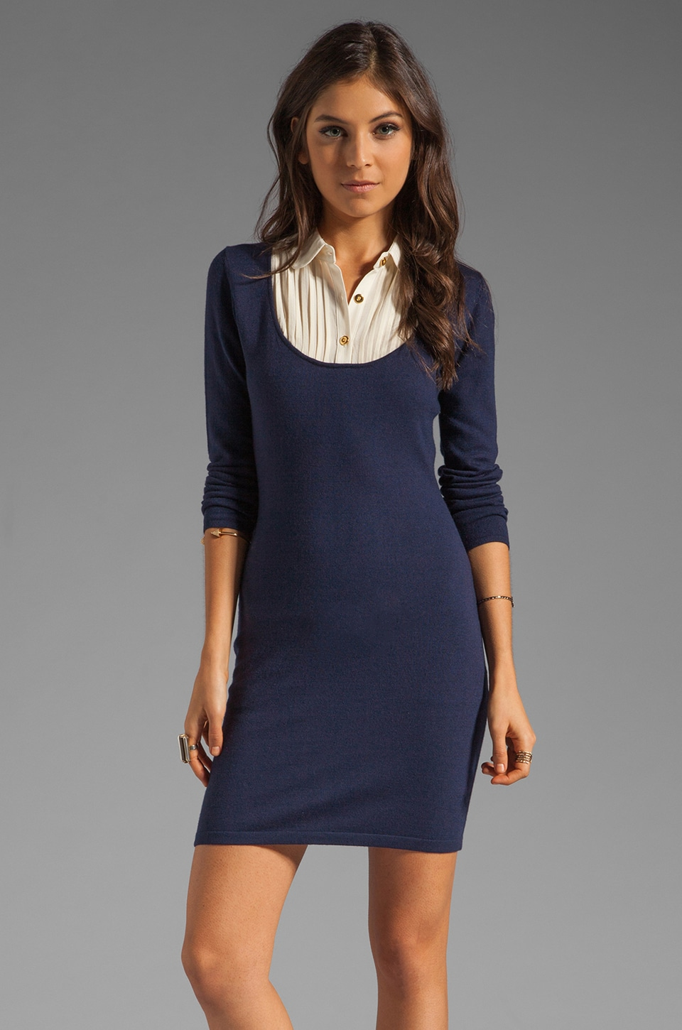 Alice by Temperley Dorado Dress in Navy/Cream