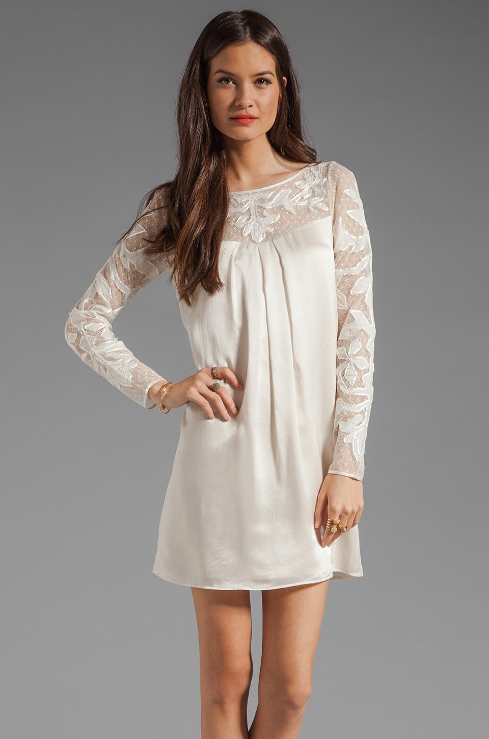 Alice by Temperley Floria Long Sleeve Tunic Dress in Champagne Mix