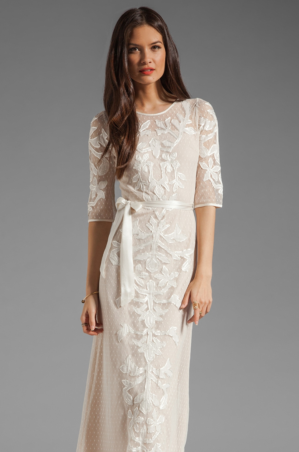 Alice by Temperley Long Floria Dress in Champagne Mix