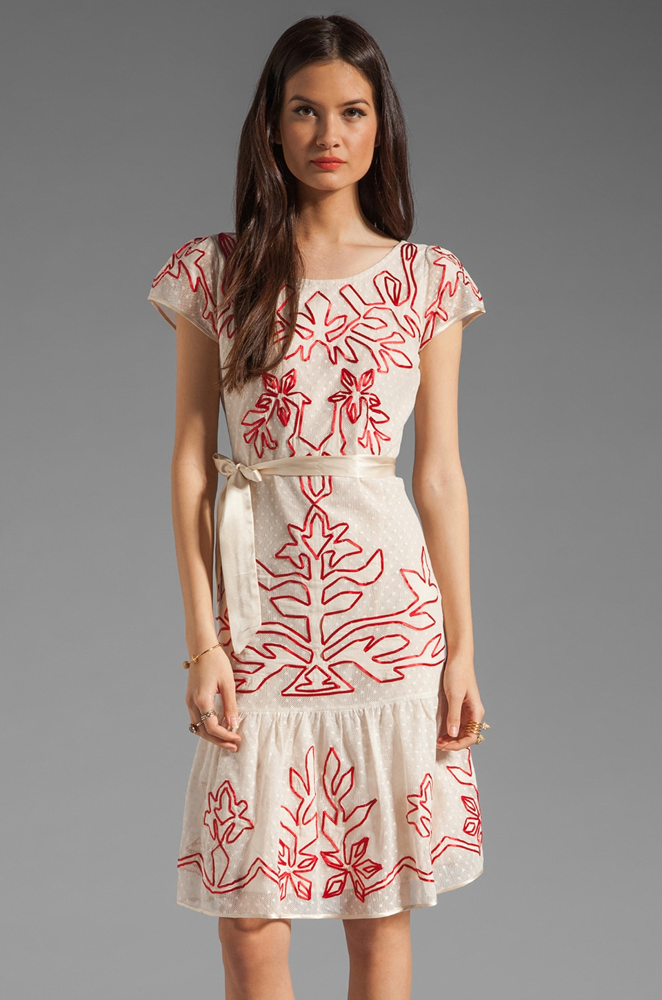 Alice by Temperley Frilled Floria Dress in Red Mix