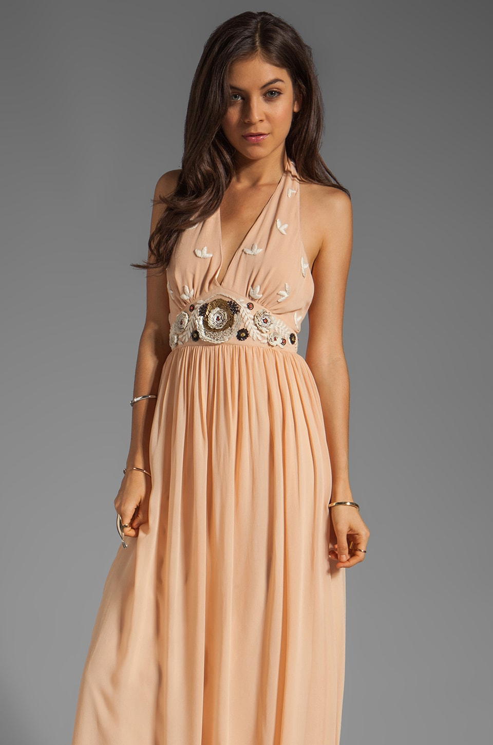 Alice by Temperley Long Fonteyn Halter Dress in Cinnamon