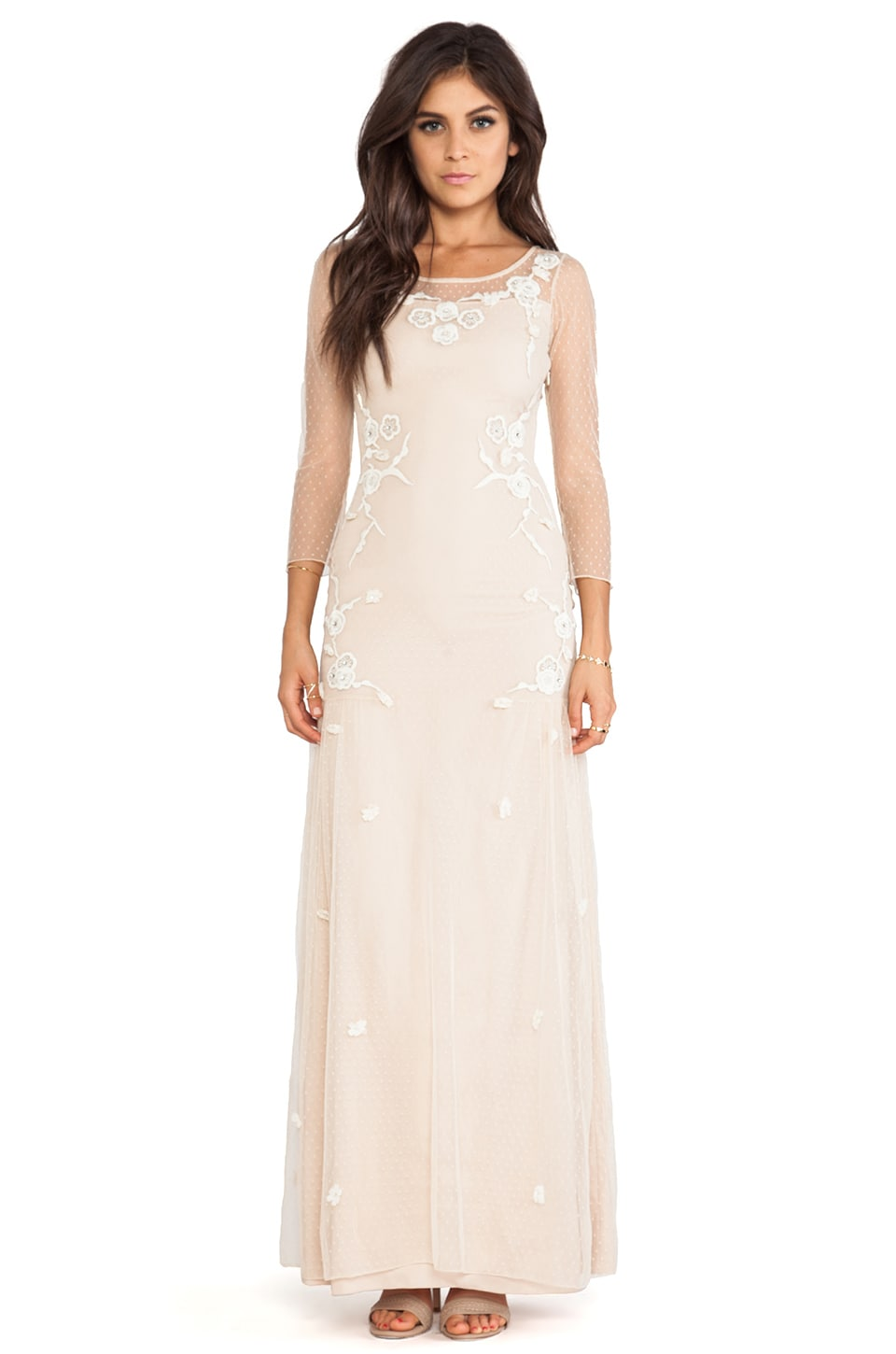 Alice by Temperley Cherry Blossom Long Dress in Stone/Ivory