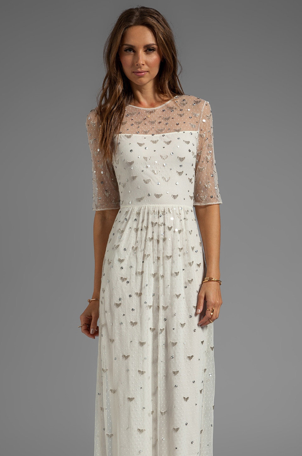 Alice by Temperley Sapphire Long Dress in Ivory/Silver