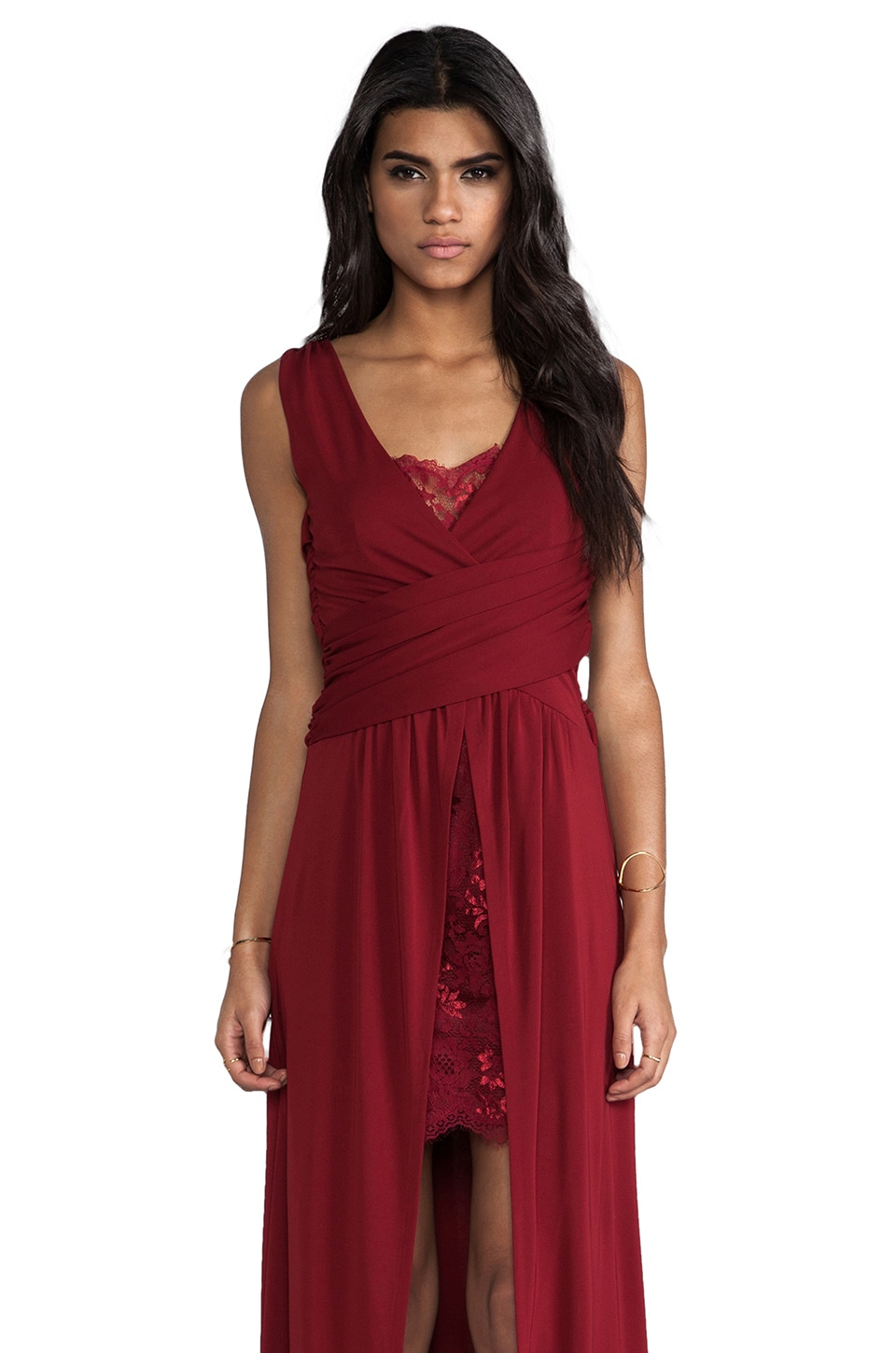 Alice by Temperley Alcazar Long Dress in Wine