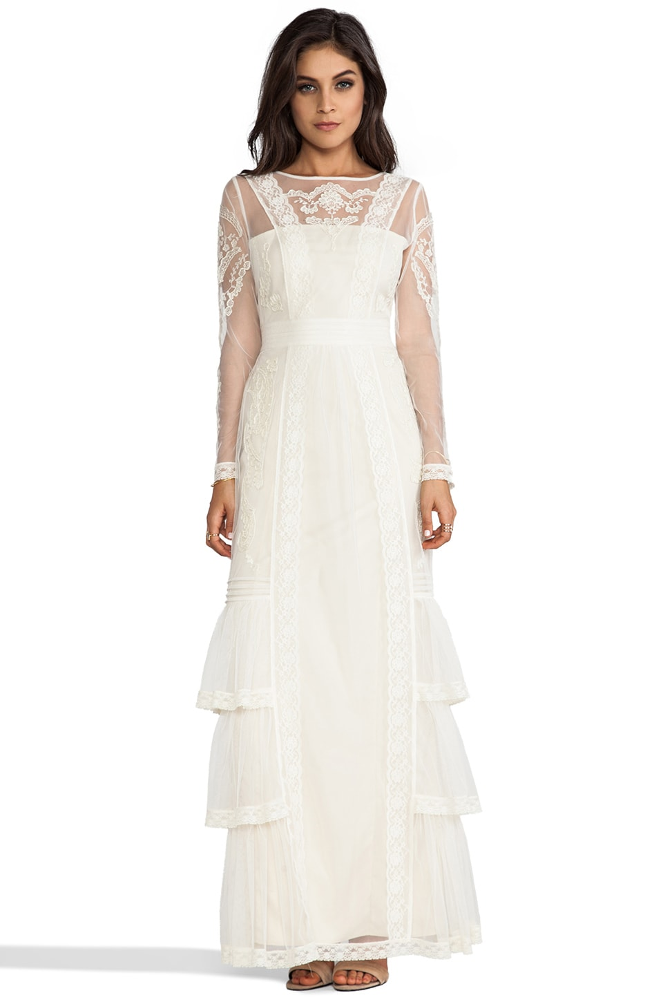 Alice by Temperley Long Sleeve Botanical Maxi Dress in Ivory