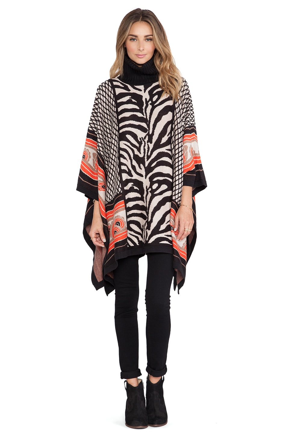 Alice by Temperley Ali Poncho in Black Mix