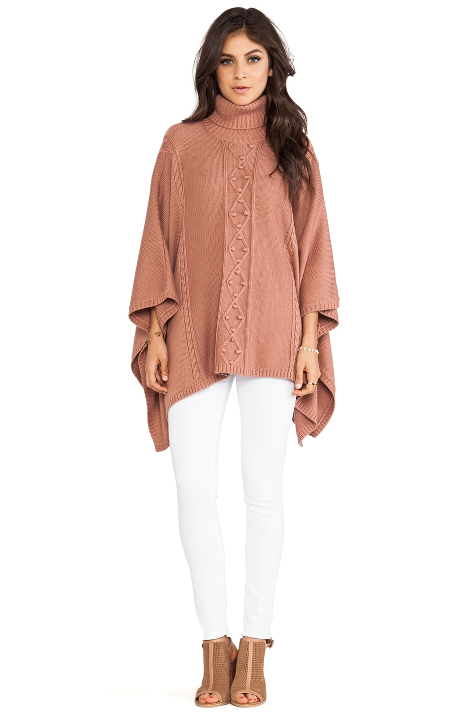 Alice by Temperley Octavia Knit Cape in Dusty Pink
