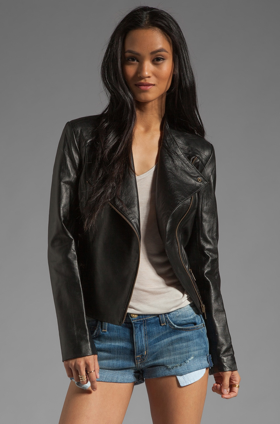 Alice by Temperley Valois Leather Jacket in Black